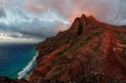 Dusk on the Napali Coast.