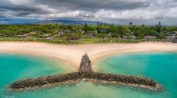 Whale Tail breakwater at Kapilina Beach. Iroquois Point, Oahu. Makakilo Ridgeline in the distance. @kapilinabeachhomes
