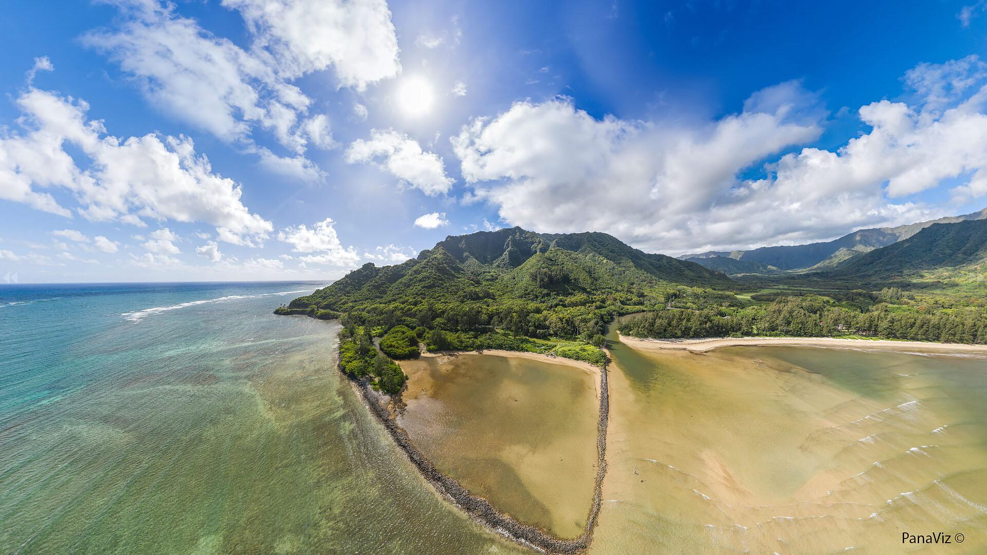 Crouching Lion and Huilua Fishpond Aerial Panorama