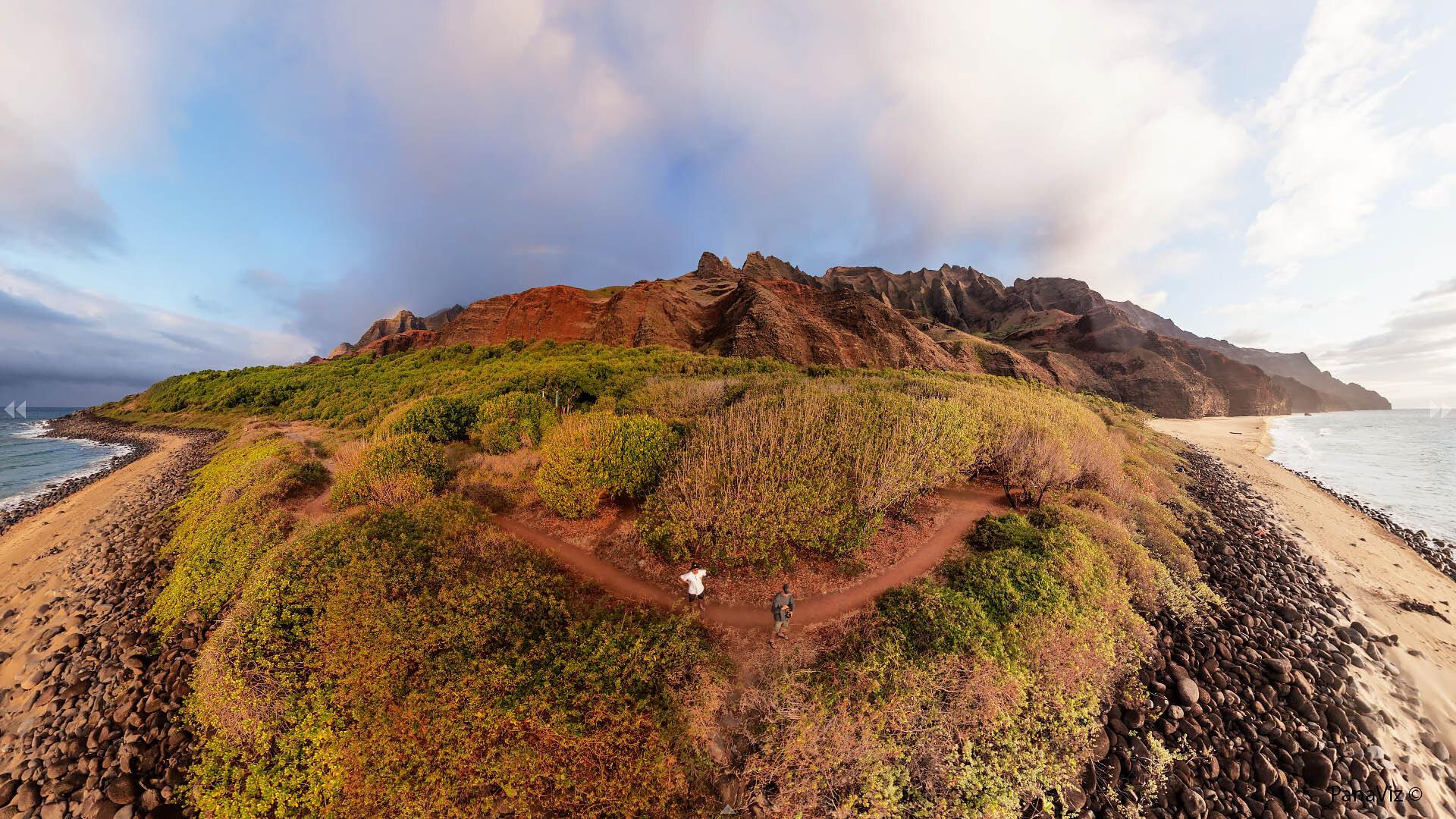 Napali Coast Aerial Panoramic Photography