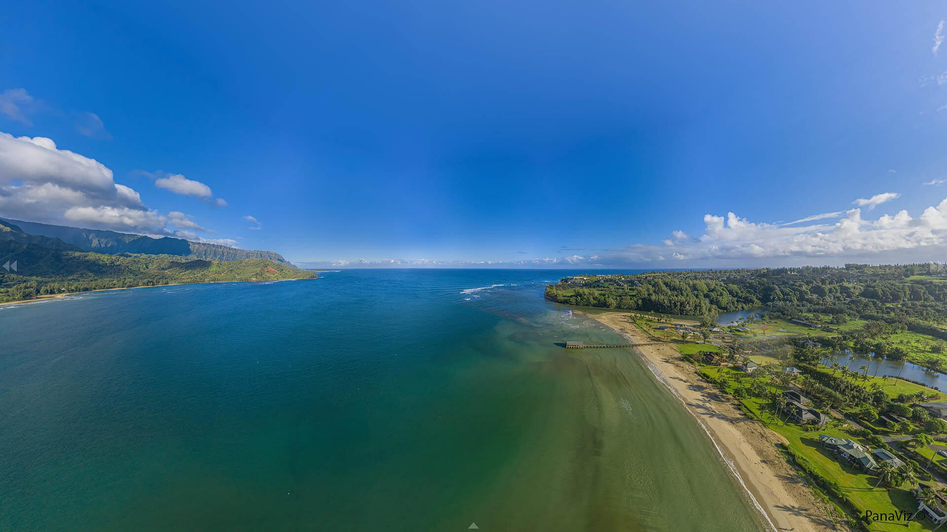 Hanalei Bay Aerial Panorama