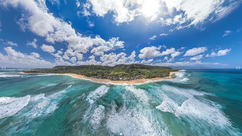 Laniakea Beach Aerial Panorama