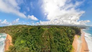 Secret Beach Kauai Aerial Panorama